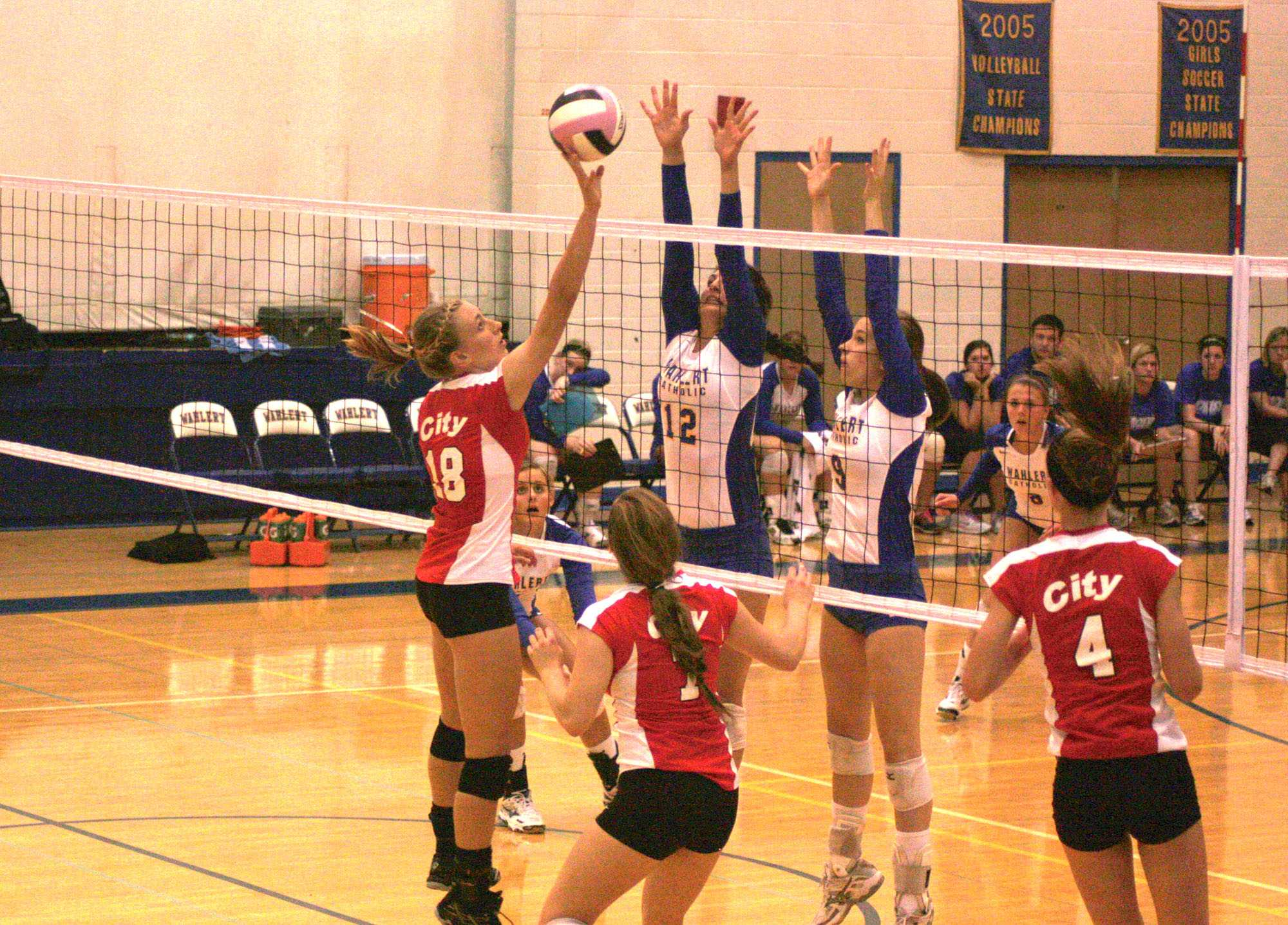 Michaela Nelson '14 tips the ball during the second set on Tuesday.