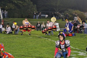 Drumline members rock out at half time show Photo by Della Nuno