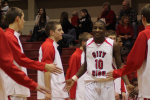 Point guard for  The Little Hawks, Jeremy Johnson.  Photo by Tristan Spears