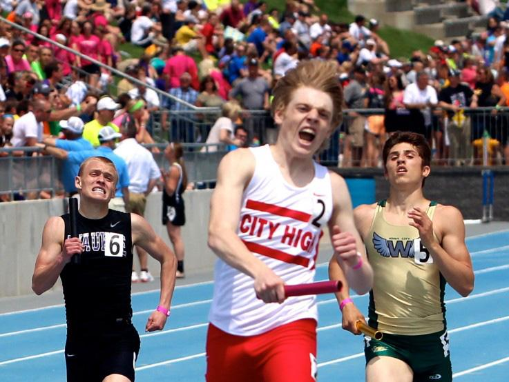 Brooke Price anchors the 4x800 state championship and City High record setting team.