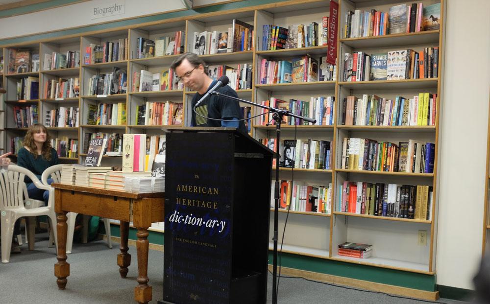 Dr. McLeod speaks at Prairie Lights on his book Pranksters.
