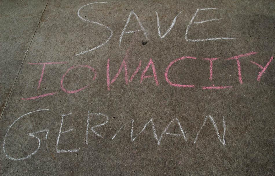 City+High+students+have+chalked+sidewalk+on+campus+in+protest+of+the+announcement+that+the+German+language+program+will+be+phased+out+of+the+ICCSD%27s+class+offerings.