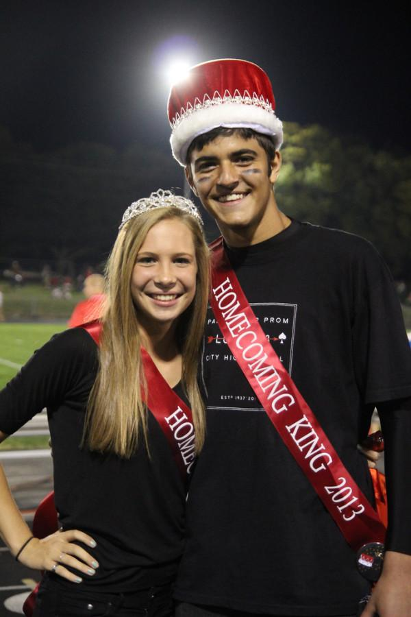Morgan Sammons 14 and Omar Shaban 14 after winning homecoming king and queen.