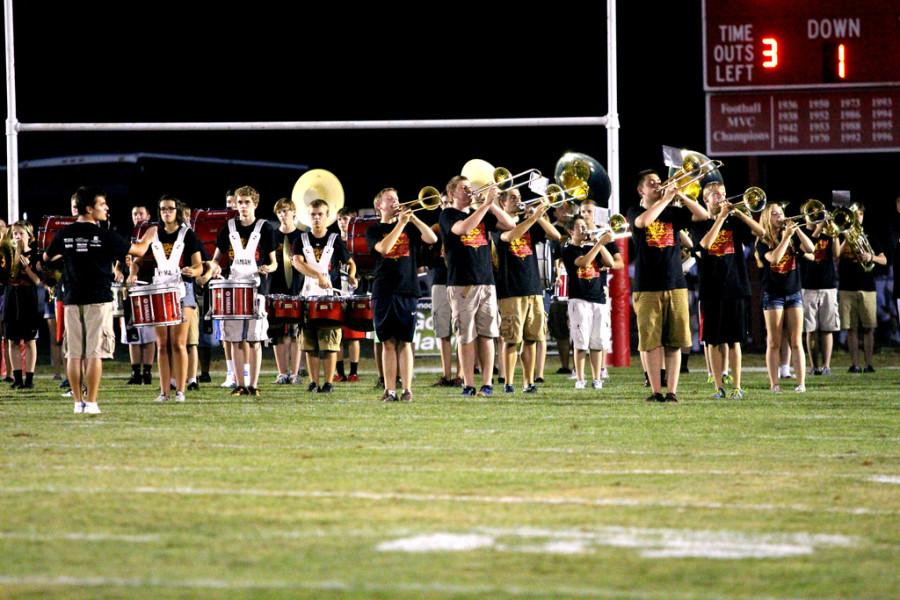 City High band playing during the half time show.