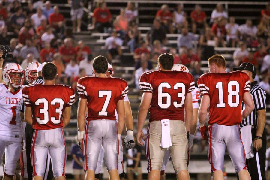 The Little Hawk captains during the pre-game coin toss.