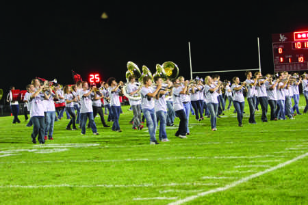Little Hawk Marching Band marches on Bates Field on September 12th