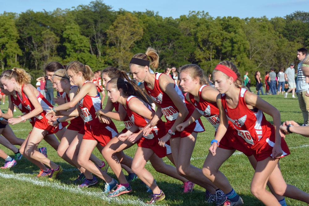 Varsity girls take off at the Little Hawk Invitational meet