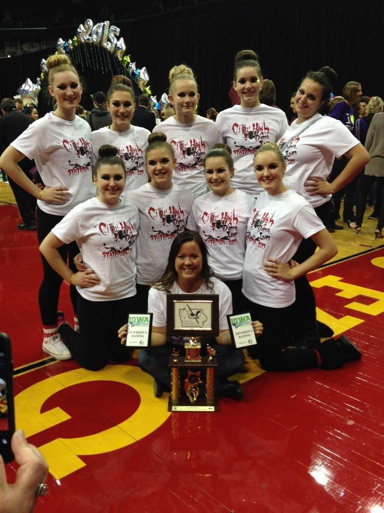 1st Row: City High Dance Coach Barbie Kopp 2nd Row Left to Right: Amelia Cain, Elke Windschitl, Madison Swehla and Courtney Streb 3rd Row Left to Right: Grace Williamson, Marisa Milavetz, Hailey Fay, Jordan Hobbs and Chloe Reagan