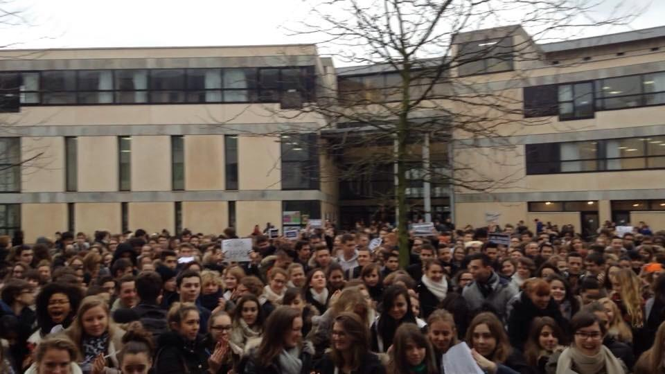 French students protest anti-expression terrorist attacks. High school students rallied in Meaux.