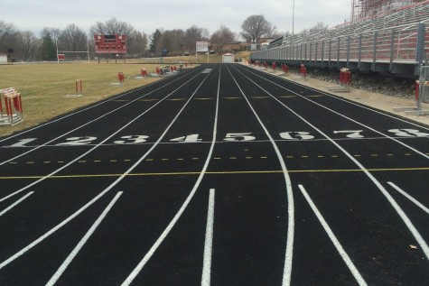 The City High track lays deserted due to the postponement of spring sports