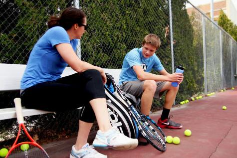 Hoff talks with his coach Sarah Borwell during a break