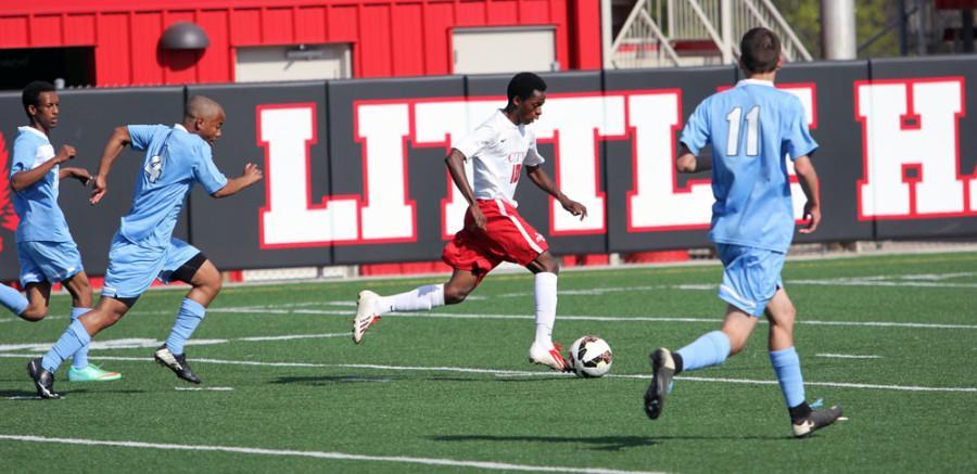 Balochi sprints down the field