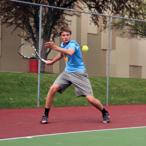Hoff winds up for a forehand during a rally