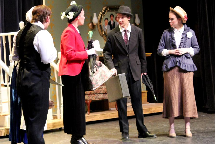 The cast of Mary Poppins prepares for opening night.