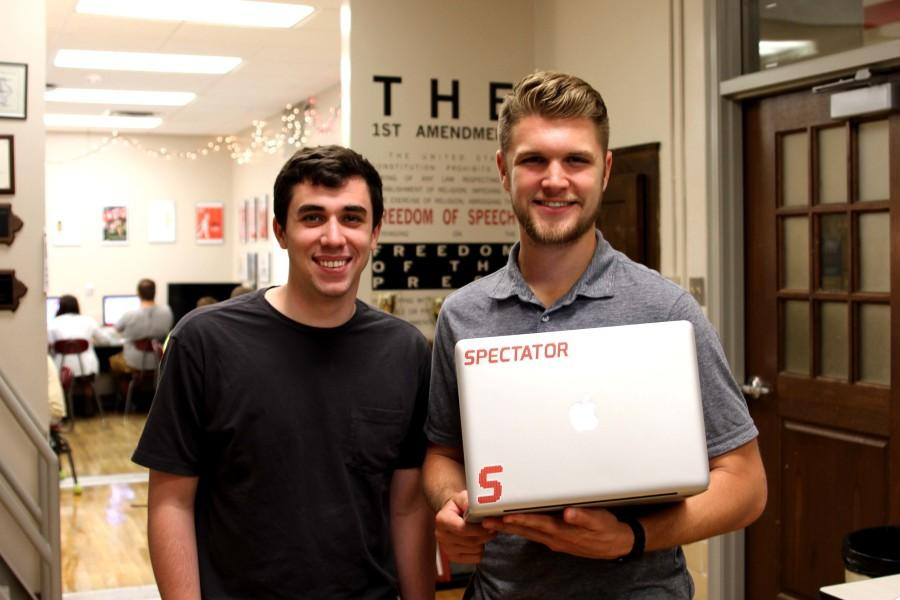 Spectator+co-founders+Jon+Myers+and+Mitch+Larson+visit+City+High.