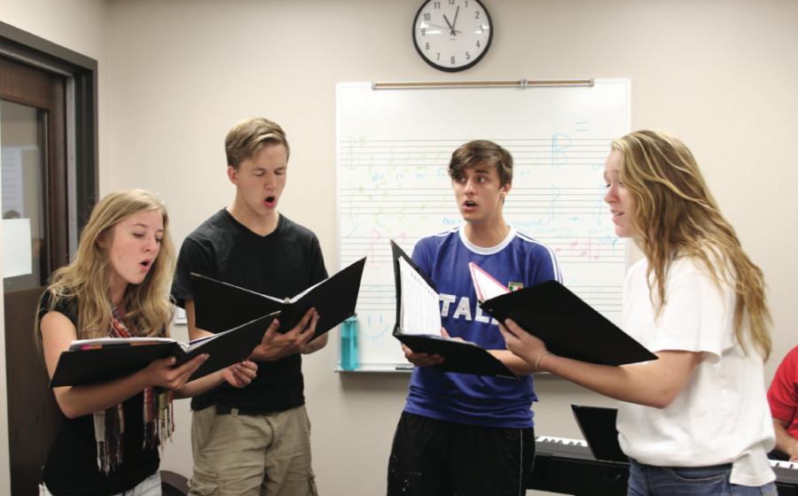 Quartet practicing for All State: Caroline Brown '16, Hugh Brown '17, Emmett Adamson '16, Eddy Galstad '16 (left to right)