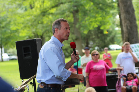 O'Malley speaking at City Park in Iowa City.