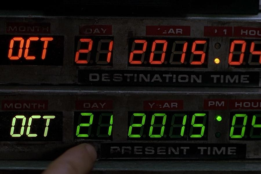 Back to the Future Part II is a 1989 screenplay written by Robert Zemeckis and Bob Gale with main characters Marty McFly (Michael J. Fox) and Doc Brown (Christopher Lloyd) where the duo have to go to the future date of October 21, 2015 from 1985.