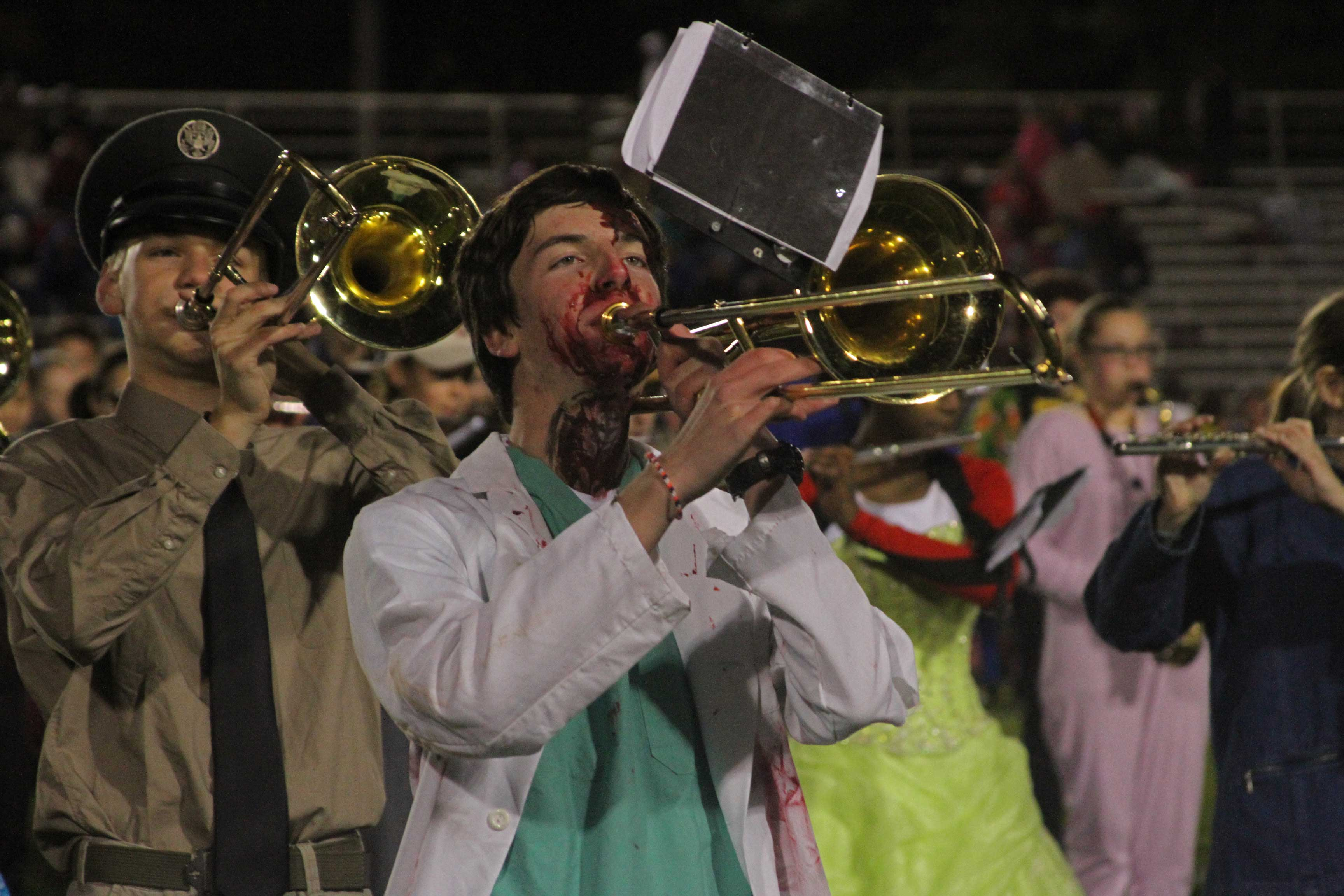 The+Costumed+Joseph+Stoltz+%2717+performs+during+the+halftime+show.
