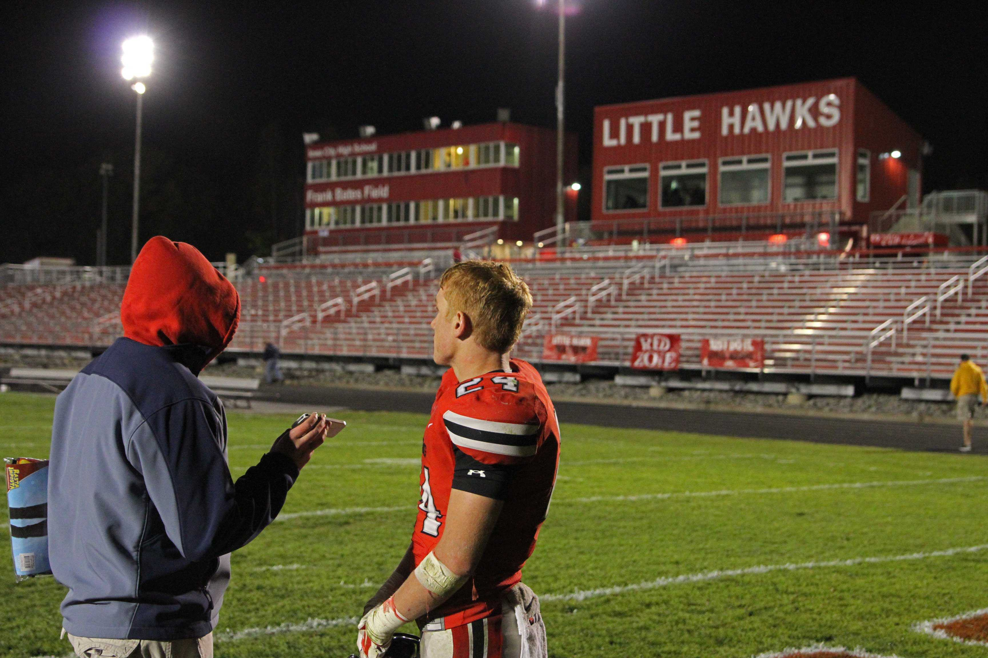 Little+Hawk+Sports+Editor+Jonathan+House+conducts+a+post+game+interview+with+Bryce+Frantz+%2717