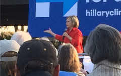Hillary Clinton speaks in Coralville in November on her presidential campaign.