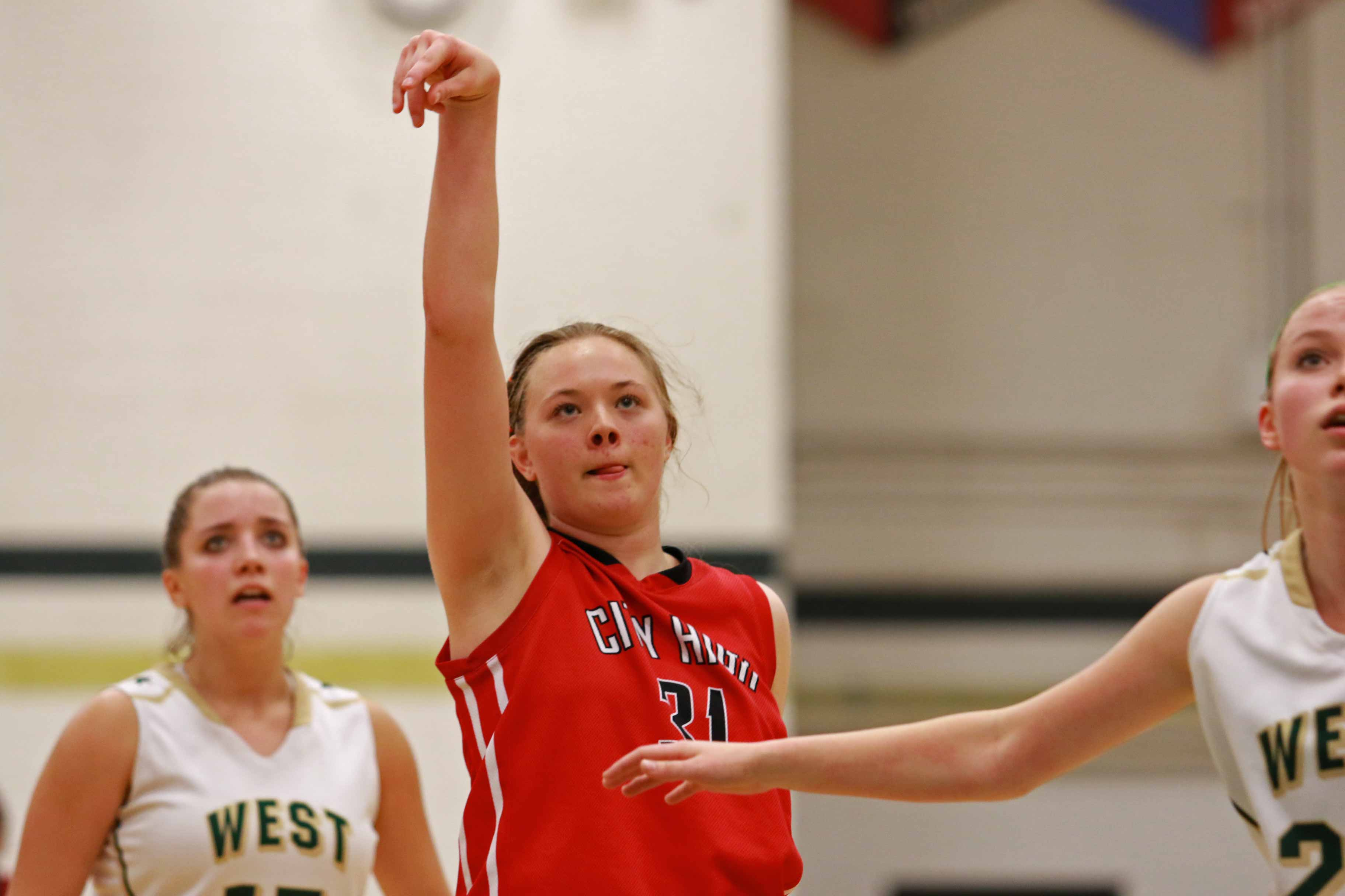 Courtney Joens '16 shoots a free throw against West.