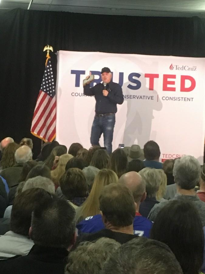 Conservative radio show host and commentator Glenn Beck speaks at the Cruz rally.
