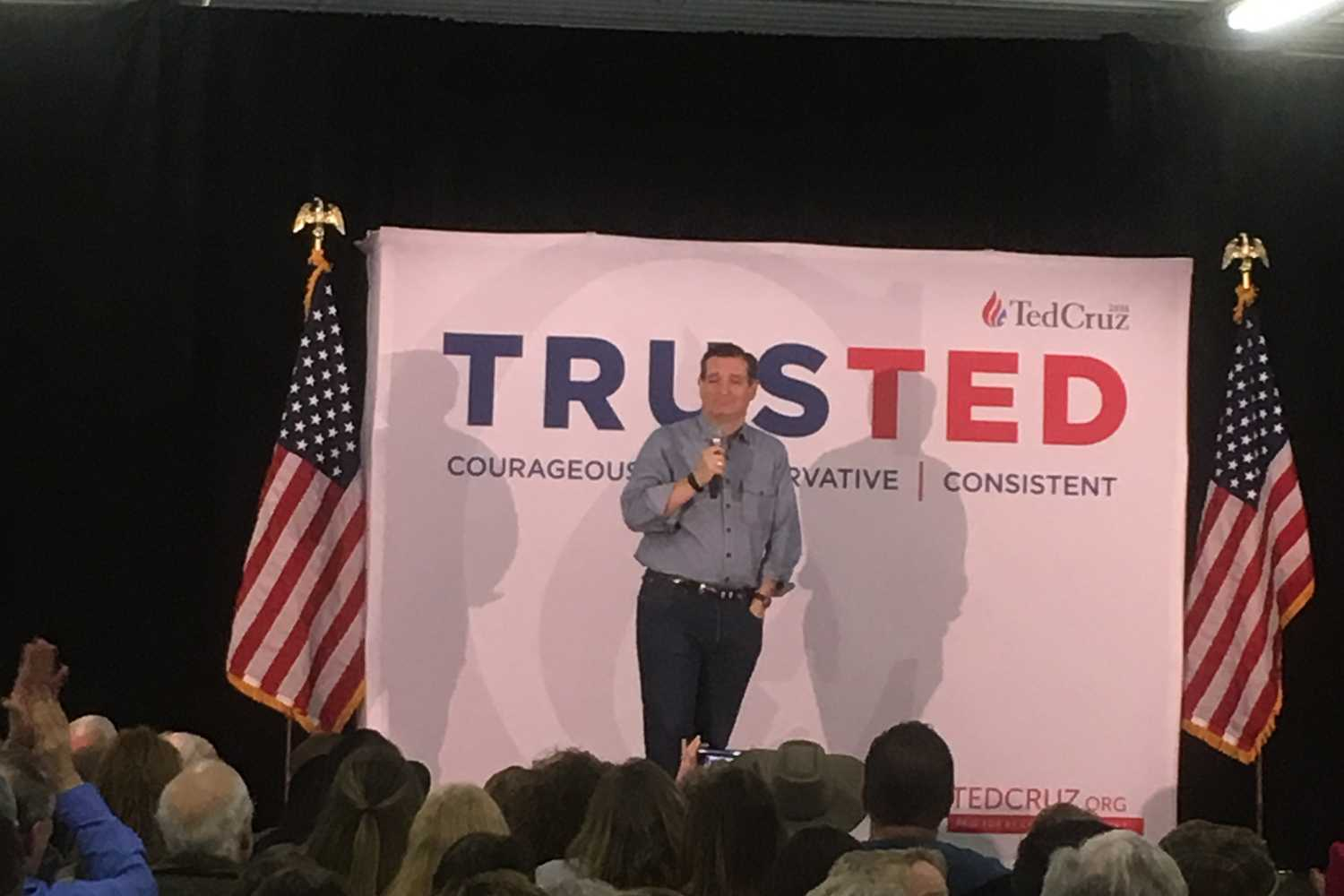 Ted Cruz speaks at the Johnson County Fair Grounds.