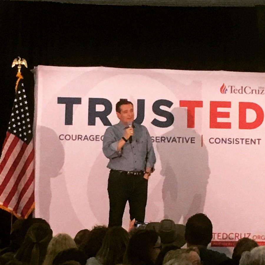 Ted Cruz speaks at the Johnson County Fairgrounds.
