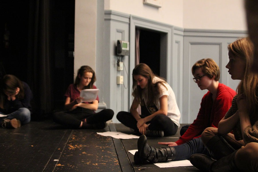 Students on choral reading reciting their lines.