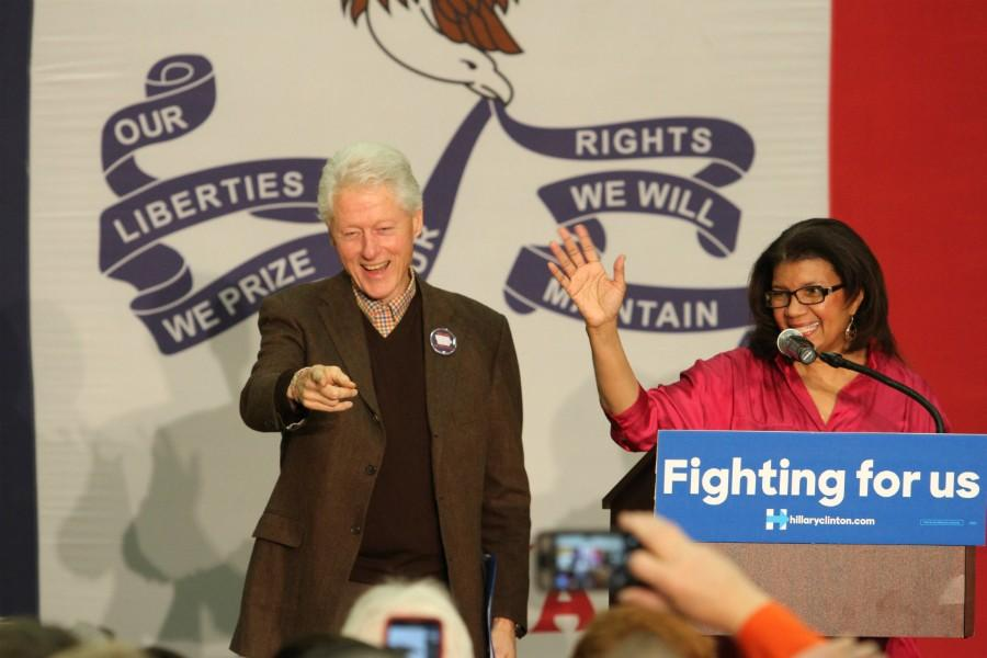 President Bill Clinton greets the audience at Northwest Jr. High Friday night.