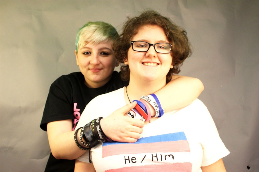 Genderfluid student Ileana Knapp (left) and ftm* student Michael {Robin} Menietti (right ). *Female to male