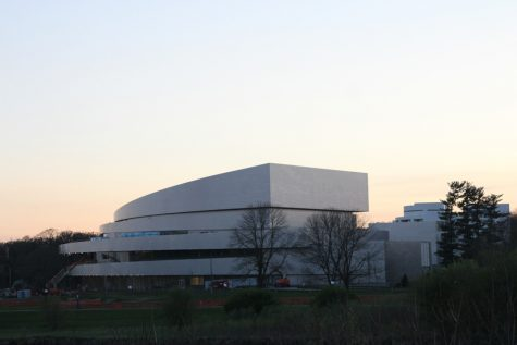 Hancher during its construction in April.