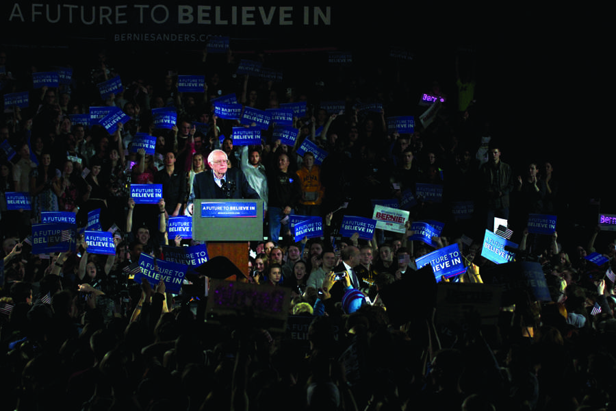 Sen. Bernie Sanders, who won the Wisconsin primary, speaking in Iowa City prior to the Iowa Caucus on February 1st.
