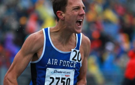 Air Force's Patrick Corona celebrates following his final race for Air Force before graduating the academy.