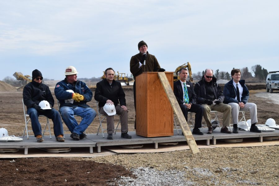 Members of the ICCSD school board hold the groundbreaking ceremony, held on Tuesday, April 5th.