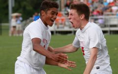 Henry Mosher '16 screams after scoring against West Des Moines Valley before half during the Little Hawks' state championship game at the Cownie Soccer Park on Saturday, June 4, 2016.