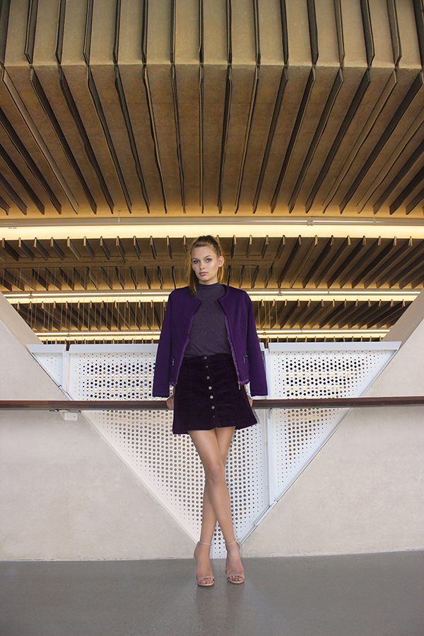 AUBERGINE: TOP- Forever 21. SKIRT- Forever 21. JACKET- Laura Ashley. SHOES- Steve Madden.