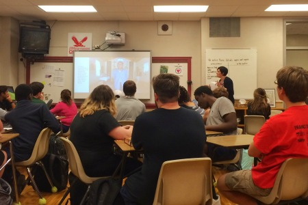 Mrs. Basile's 6th period class listen intently as she talks.