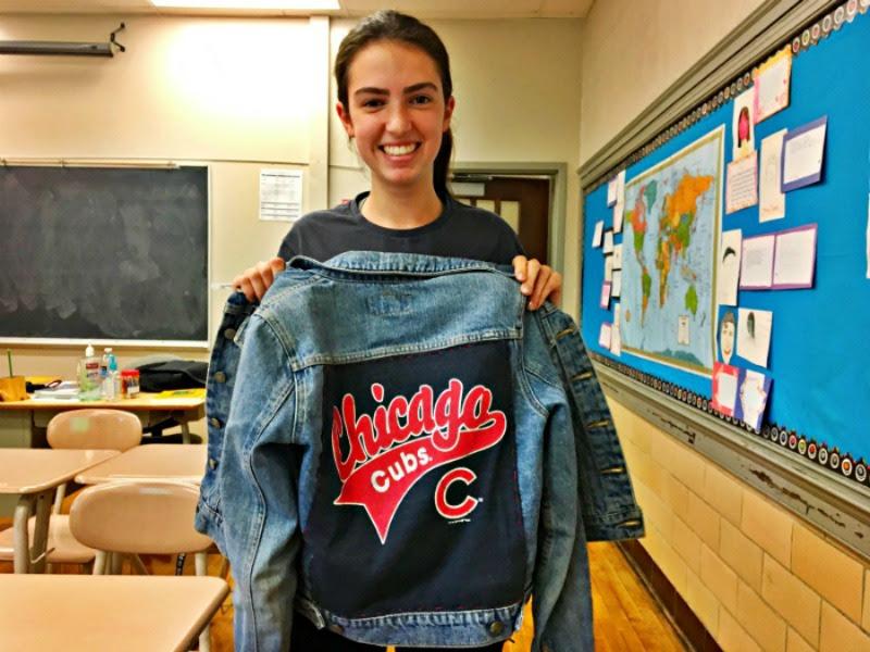 Anna+Denniston+%2718+shows+off+her+Chicago+Cubs+jacket.+