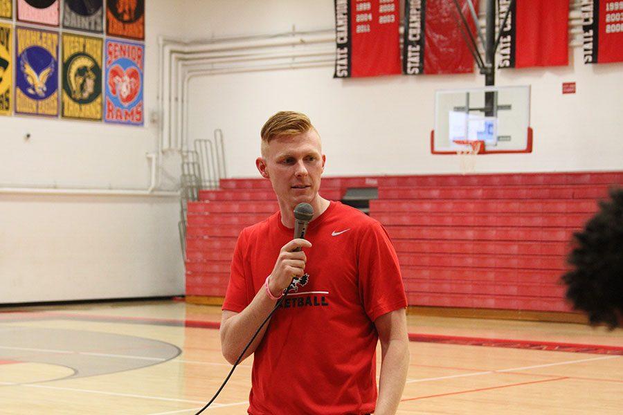 Coach Derek Roberts speaks during the boys basketball scrimmage back in November