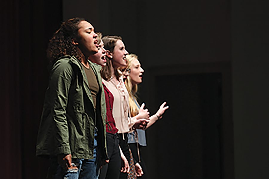 From left to right: Jessie Shaw '17, Elisa Swanson '17, Emma Myers-Verhage '17, Liz Tornblom '18 and Anna Norman-Wikner '17 perform