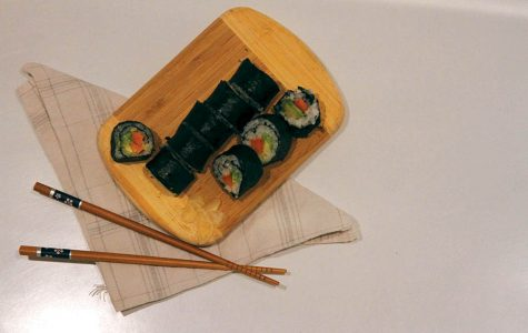 home made vegetarian avocado and sweet potato sushi.