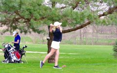 Lexi Shield '18 tees off during a meet at Pleasant Valley Golf Course on April 13th.