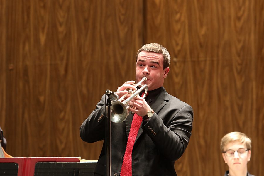 Joey Schnebolen '17 solos on trumpet at the Iowa Jazz Championships.