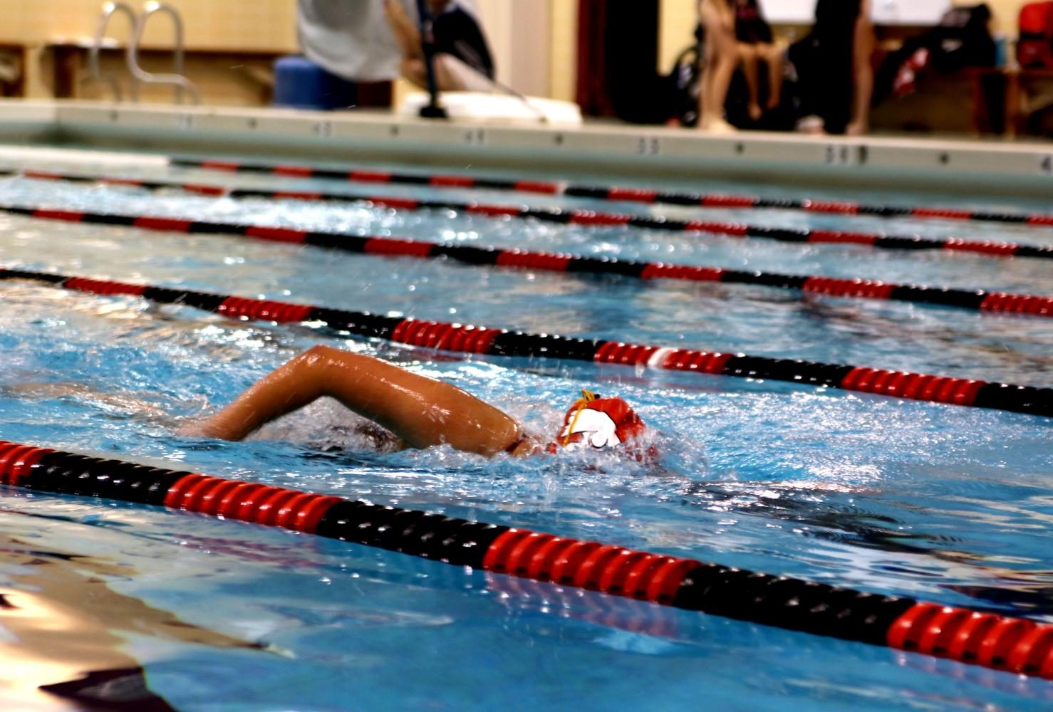 Lauren Whaley competes in the 500 free.