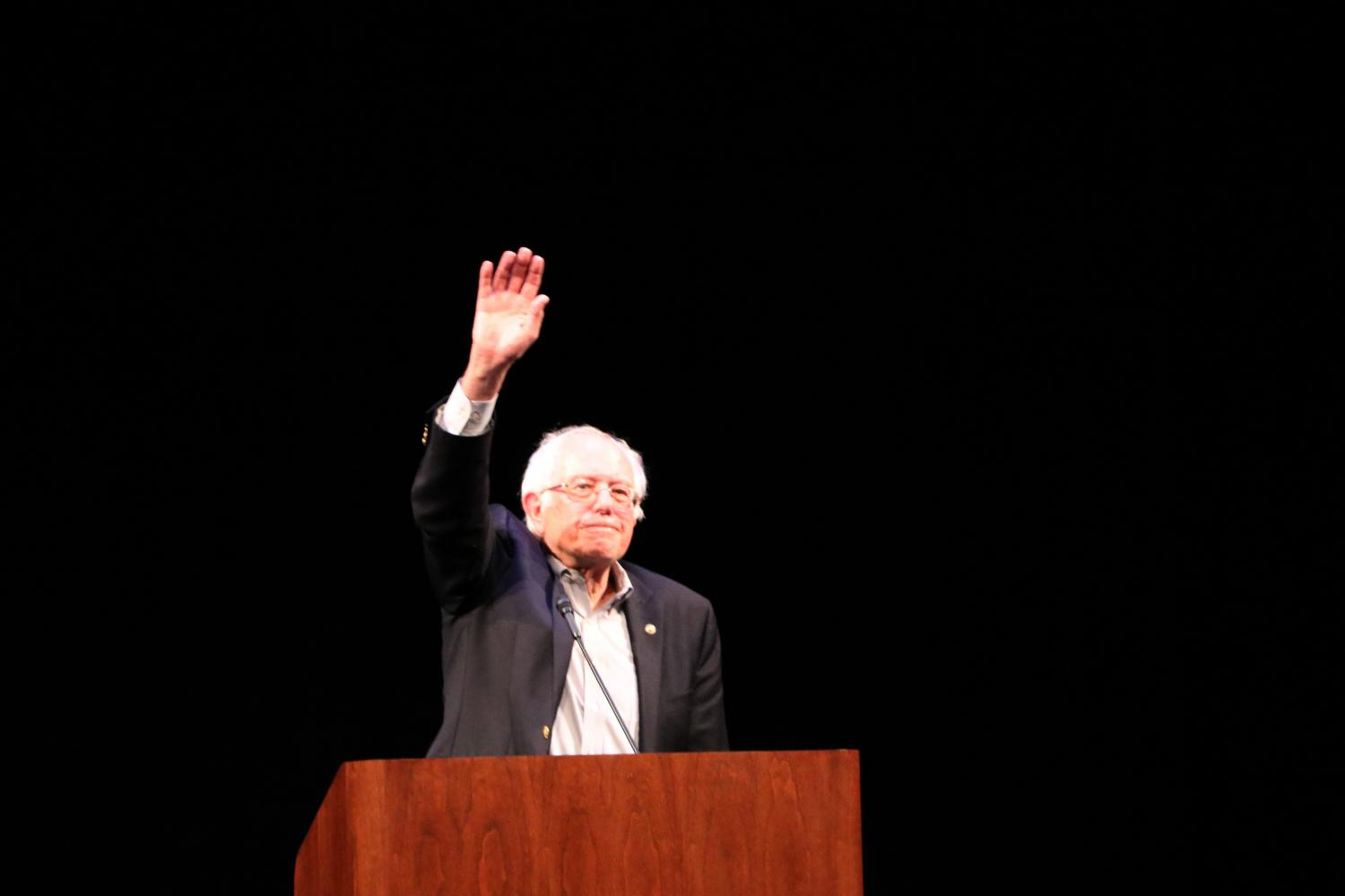 Bernie+Sanders+addresses+the+crowd+at+his+event+in+Iowa+City+Thursday+night.+Sanders+was+promoting+his+recent+book.