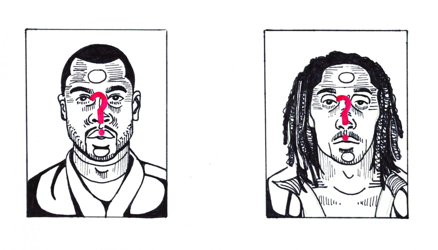 Artistic representation of the mugshots of the two men allegedly involved in a shooting in downtown Iowa City.