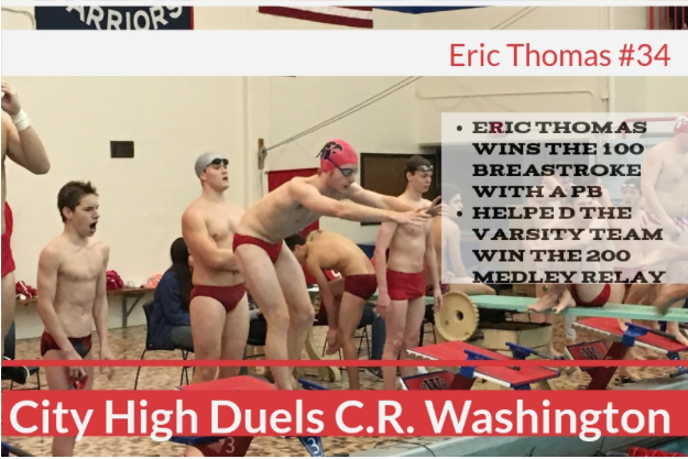Boys Swimming Excels at Dual Meet with CR Washington