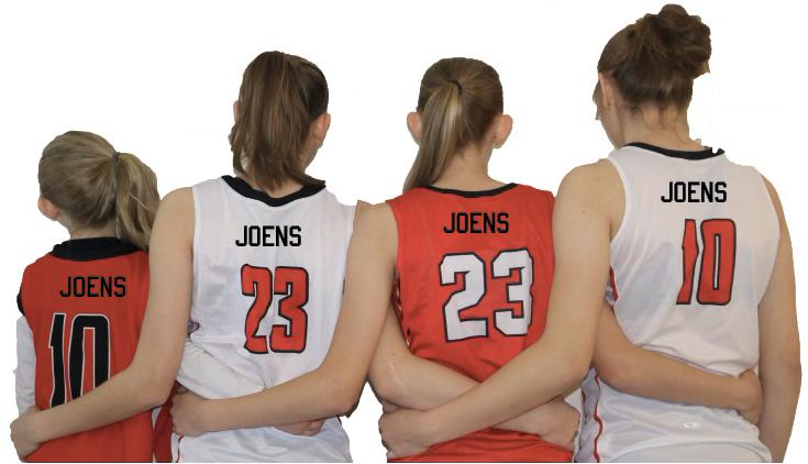 L-R Bailey Joens '30, Aubrey Joens '20, Kelsey Joens '23, and Ashley Joens '18 pose for a shot with their jerseys